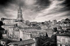 St Emilion village in Bordeaux region, monochrome. View, France stock photos