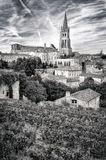 St Emilion village in Bordeaux region, monochrome. View, France stock images