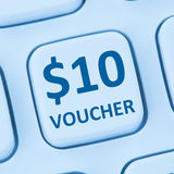 St en línea de Internet de las compras de la venta del descuento del regalo del vale de 10 dólares Fotografía de archivo libre de regalías