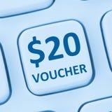 St en ligne d'Internet d'achats de vente au rabais de cadeau de bon des 20 dollars Images libres de droits
