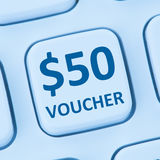 St en ligne d'Internet d'achats de vente au rabais de cadeau de bon des 50 dollars Images libres de droits