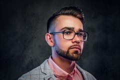 St?ende av den attraktiva eftert?nksamma mannen i rutig blazer, rosa skjorta och exponeringsglas royaltyfria bilder