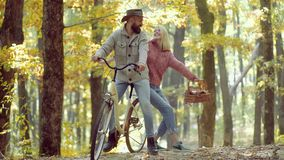 St?ende av den gladlynta unga kvinnan och den sk?ggiga mannen med h?stblad F?r?lskade romantiska Autumn Couple Retuscherat och stock video