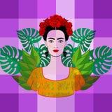 St?ende av den unga h?rliga mexikanska kvinnan med en traditionell frisyr Mexicanska skalle?rh?ngen, krona av r?da blommor stock illustrationer