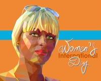 St?ende av en ung attraktiv blond kvinna vektor illustrationer