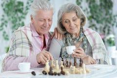 St?ende av lyckliga h?ga par som tillsammans spelar schack royaltyfria bilder