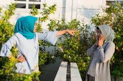 St?enden av ilskna tv? hijabkvinnor har mots?ttningar med grannar royaltyfria foton