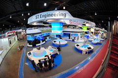 ST Engineering booth showing off its technology and defense systems at Singapore Airshow 2012 Stock Image
