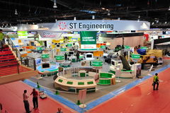ST Engineering booth showing off its technology and defense systems at Singapore Airshow 2012 Royalty Free Stock Photography