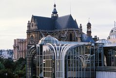 St. Eustache cathedral and Forum des Halles Royalty Free Stock Photography
