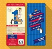 1st födelsedagkort med stil för biljettlogipasserande royaltyfri illustrationer