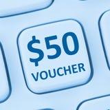 St för internet för shopping för försäljning för rabatt för 50 dollar kuponggåva online- Royaltyfria Bilder