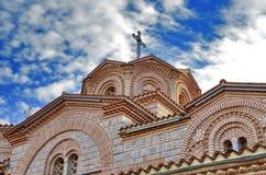 St för ortodox kyrka Pantelejmon - Plaoshnik i Ohrid, Makedonien fotografering för bildbyråer