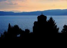 st för silhouette för kaneomacedonia ohrid Arkivbild
