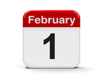 1st February. Calendar web button - The First of February - National Freedom Day in USA, three-dimensional rendering, 3D illustration Royalty Free Stock Photos