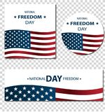 1st February National Freedom Day Illustration banners or posters template. Abstract American Flag, USA Colors. Transparent background Royalty Free Illustration