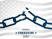 1st February National Freedom Day Illustration with a broken chains as a symbol of freedom. posters template. Royalty Free Stock Images