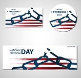 1st February National Freedom Day Illustration with broken chains  banners or posters template. Royalty Free Stock Image