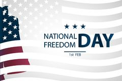 1st February National Freedom Day Illustration with a  Liberty Bell as a symbol of freedom. posters template. American Flag as background Stock Image