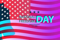 1st February National Freedom Day Illustration with a  Liberty Bell as a symbol of freedom. posters template. American Flag as background Royalty Free Stock Photo