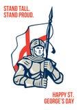St feliz inglés orgulloso alto George Greeting Card del soporte Imagen de archivo libre de regalías