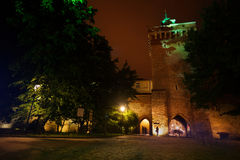 St. Florian's Street gates at night in Krakow Stock Photography