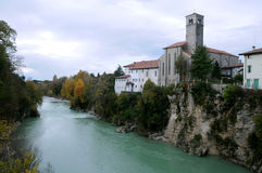 St.Francesco Church in Cividale del Friuli. St.Francesco Church and the Natisone river in the town of Cividale del Friuli in Italy Stock Photo