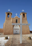 St Francis of Assisi church in Taos, New Mexico. St Francis of Assisi church, historic building in adobe style in Rancho de Taos, New Mexico royalty free stock photos