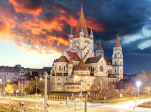 St. Francis of Assisi Church in Vienna, Austria at night Royalty Free Stock Photo