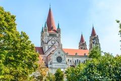 St Francis av den Assisi kyrkan, Wien Fotografering för Bildbyråer