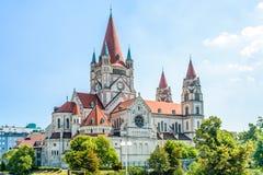 St Francis av den Assisi kyrkan, Wien Arkivfoto