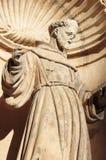 St Francis av den Assisi statyn i Palma de Mallorca Royaltyfri Fotografi