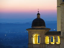 St Francis Basilica Assisi. Basilica of St Francis in Assisi and view of Umbria Stock Photos