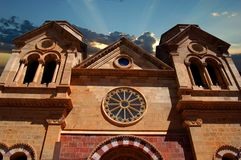 St. Francis Cathedral Basilica, New Mexico. Front view of the Saint Francis Cathedral Basilica located in downtown Santa Fe, New Mexico. Built by Archbishop Jean Stock Images