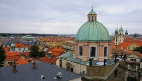 St Francis Church And Klementinum Of Prague Stock Photo