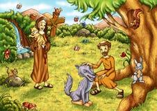 St. Francis en Heilige Chiara Royalty-vrije Stock Afbeeldingen