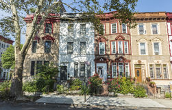 St. Francis Place Apartment Buildings. A row of historic brick apartment buildings on St. Francis Place in the Crown Heights Neighborhood of Brooklyn, New York Stock Images