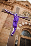 St. Francis Santa Katedralny Fe Jezus Okrywający Przecinający Święty tydzień Obraz Stock