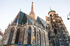 St. Francis statue and Stephansdom, Vienna Stock Photo