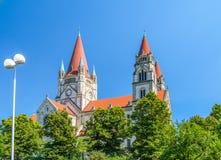 St Francis van de Kerk van Assisi, Wenen Stock Foto