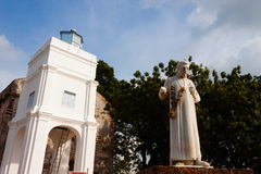 St Francis Xavier statue. Statue of St Francis Xavier and the church at A Famosa, Malacca, Malaysia Royalty Free Stock Image