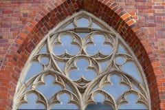 St gótico do século XIV Elisabeth Church, janela decorativa, mercado, Wroclaw, Polônia fotografia de stock