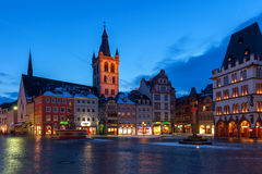 St. Galgolf Church in Market Square  in Trier, Germany. Trier, formerly known in English as Treves, is a city in Germany on the banks of the Moselle Stock Image