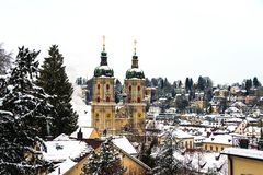 Предусматриванный в соборе снега в St Gallen, Швейцария стоковые изображения rf