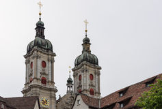 St. Gallen abbey twin towers Royalty Free Stock Images