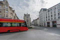 St. Gallen, SG / Switzerland - April 8, 2019: the historic Appenzeller train rounds the Spisertor in downtown St. Gallen on ist