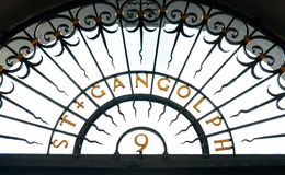 St. Gangloph church sign - oldest church in Germany. St. Gangloph sign above church's entrance. Saint Gangold is a Roman Catholic church in Trier, Germany. It is Stock Photo