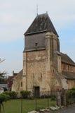 St Genest church - Lavardin - France. The facade of the St Genest church in Lavardin (France). La façade de l'église Saint Genest à Lavardin (France stock photos