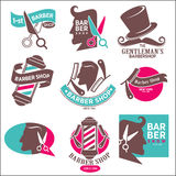 1-st Gentleman`s Barbershop. Hairdresser Stickers. Gentleman`s barber shop logotype symbols vector set on white. Hairdresser logo stickers. Opened scissors near stock illustration