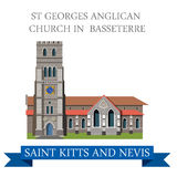 St George Anglican Church Basseterre Saint Kitts Nevis vector Stock Photos